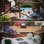 Jardin paysagé métamorphose, terrasse, plantation, piscine