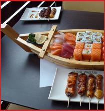 sushi, yakitori, makis, rolls