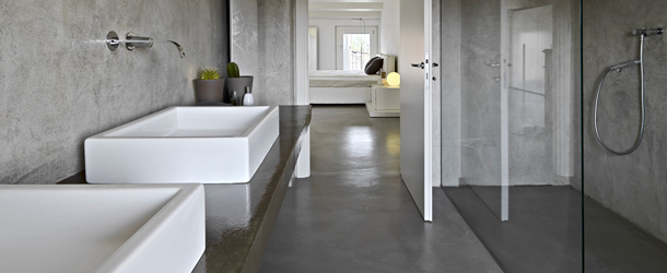 Salle De Bain Beton Cire Blanc  Maison Design  BahbeCom