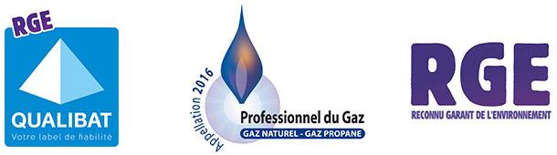 Label RGE Installateur agréé PROFESSIONNEL GAZ (PG) Professionel Maintenance GAZ (PMG)